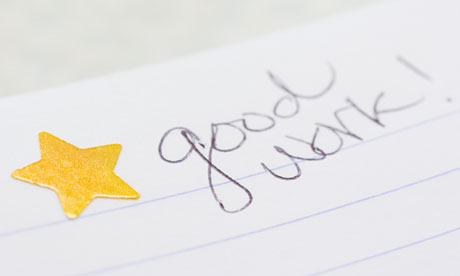 Gold star on notebook